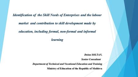 Identification of the Skill Needs of Enterprises and the labour market and contribution to skill development made by education, including formal, non-formal.