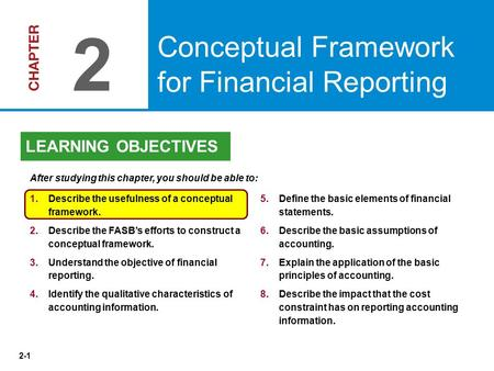 2 Conceptual Framework for Financial Reporting LEARNING OBJECTIVES