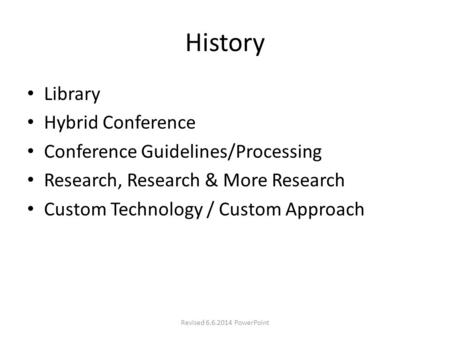 History Library Hybrid Conference Conference Guidelines/Processing Research, Research & More Research Custom Technology / Custom Approach Revised 6.6.2014.