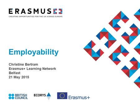 Employability Christine Bertram Erasmus+ Learning Network Belfast 21 May 2015.