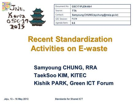 Jeju, 13 – 16 May 2013Standards for Shared ICT Recent Standardization Activities on E-waste Recent Standardization Activities on E-waste Samyoung CHUNG,