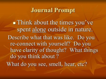 Journal Prompt Think about the times you've spent alone outside in nature. Think about the times you've spent alone outside in nature. Describe what that.