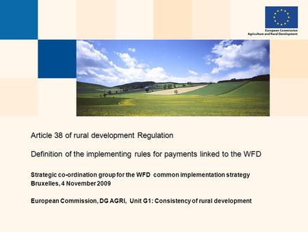Article 38 of rural development Regulation Definition of the implementing rules for payments linked to the WFD Strategic co-ordination group for the WFD.