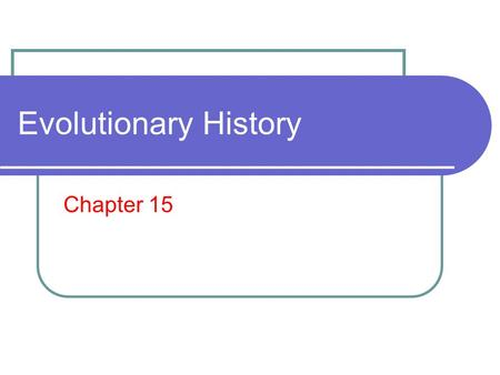 Evolutionary History Chapter 15. What you need to know! The age of the Earth and when prokaryotic and eukaryotic life emerged. Characteristics of the.