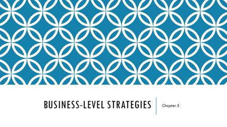 BUSINESS-LEVEL STRATEGIES Chapter 5. BUSINESS-LEVEL STRATEGIES Defines an organization's approach to growth and competition in its chosen business segments.