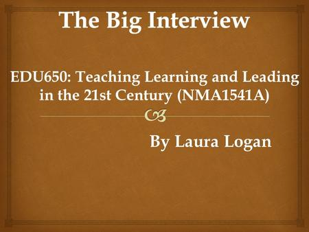 EDU650: Teaching Learning and Leading in the 21st Century (NMA1541A) By Laura Logan By Laura Logan.