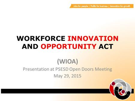 WORKFORCE INNOVATION AND OPPORTUNITY ACT (WIOA) Presentation at PSESD Open Doors Meeting May 29, 2015.