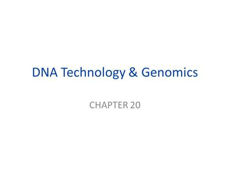 DNA Technology & Genomics CHAPTER 20. Restriction Enzymes enzymes that cut DNA at specific locations (restriction sites) yielding restriction fragments.