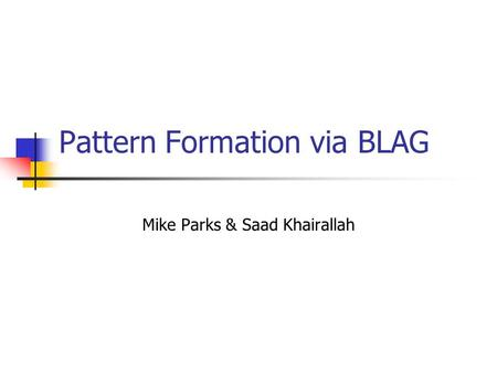 Pattern Formation via BLAG Mike Parks & Saad Khairallah.