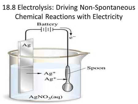 18.8 Electrolysis: Driving Non-Spontaneous Chemical Reactions with Electricity.