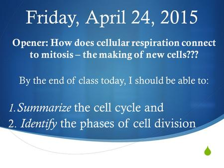  Friday, April 24, 2015 Opener: How does cellular respiration connect to mitosis – the making of new cells??? By the end of class today, I should be.