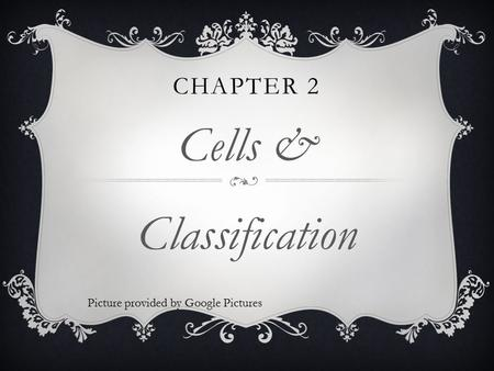 CHAPTER 2 Cells & Classification Picture provided by Google Pictures.