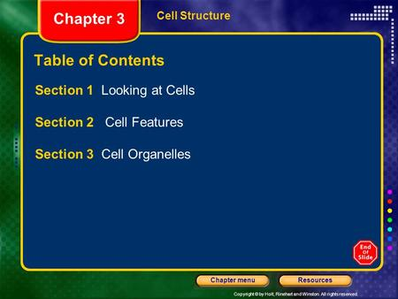 Copyright © by Holt, Rinehart and Winston. All rights reserved. ResourcesChapter menu Cell Structure Chapter 3 Table of Contents Section 1 Looking at.