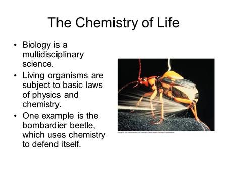 The Chemistry of Life Biology is a multidisciplinary science. Living organisms are subject to basic laws of physics and chemistry. One example is the bombardier.