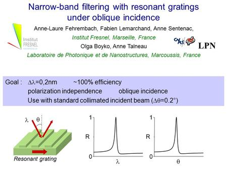 Narrow-band filtering with resonant gratings under oblique incidence Anne-Laure Fehrembach, Fabien Lemarchand, Anne Sentenac, Institut Fresnel, Marseille,