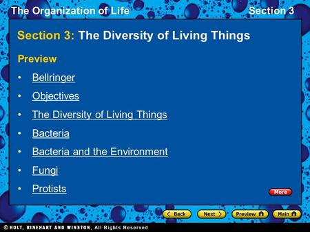 The Organization of LifeSection 3 Section 3: The Diversity of Living Things Preview Bellringer Objectives The Diversity of Living Things Bacteria Bacteria.