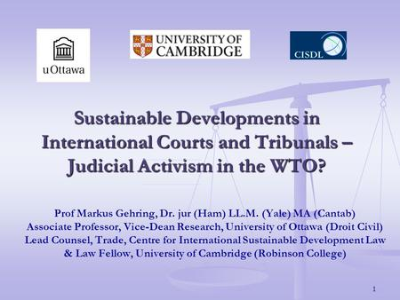 1 Sustainable Developments in International Courts and Tribunals – Judicial Activism in the WTO? Prof Markus Gehring, Dr. jur (Ham) LL.M. (Yale) MA (Cantab)