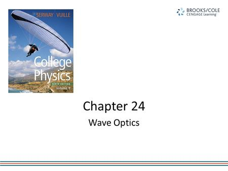 Chapter 24 Wave Optics. Young's Double Slit Experiment Thomas Young first demonstrated interference in light waves from two sources in 1801. Light is.