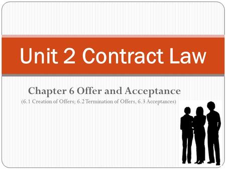 Chapter 6 Offer and Acceptance (6.1 Creation of Offers; 6.2 Termination of Offers, 6.3 Acceptances) Unit 2 Contract Law.