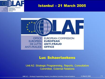 Unit A.2 – Strategic Programming, Reports, Consultative Commitee, External Relations P 1 21 March 2005 Istanbul – 21 March 2005 Luc Schaerlaekens Unit.