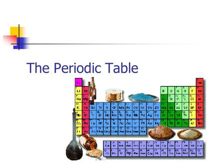 The Periodic Table. Dmitri Mendeleev (1834-1907) determined the properties of every known element at the time Atomic Mass Density Colour Melting Point.