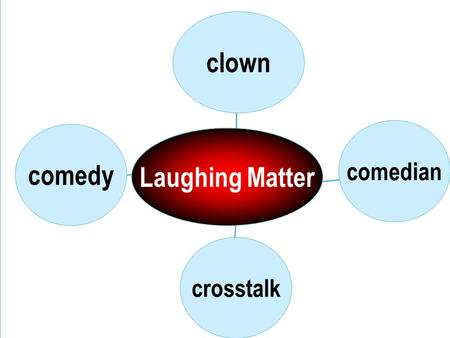 comedy crosstalk comedian clown Laughing Matter Para.1 Comedies What are comedies? What are the fun-making techniques of comedy writers?( 3 main techniques)