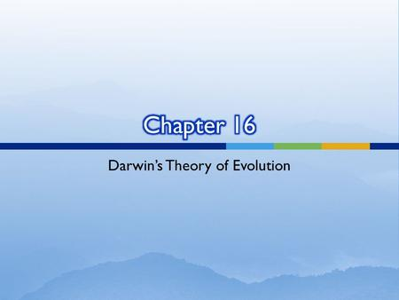 Darwin's Theory of Evolution. ____1.Darwin noticed that many organisms seemed well suited to a. being preserved as fossils. b. providing humans with food.