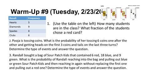 Warm-Up #9 (Tuesday, 2/23/2016) 1.(Use the table on the left) How many students are in the class? What fraction of the students chose a red card? ResultFrequency.
