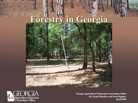 Forestry in Georgia Georgia Agricultural Education Curriculum Office Dr. Frank Flanders and Scott Register April 2006.