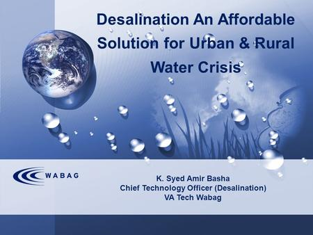 Desalination An Affordable Solution for Urban & Rural Water Crisis