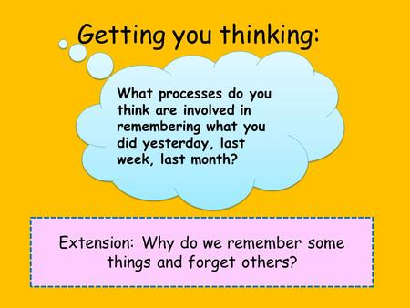 Getting you thinking: Extension: Why do we remember some things and forget others? What processes do you think are involved in remembering what you did.