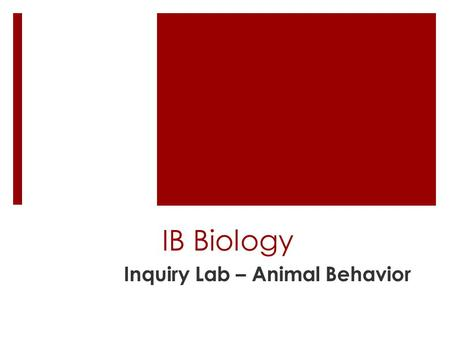 Inquiry Lab – Animal Behavior