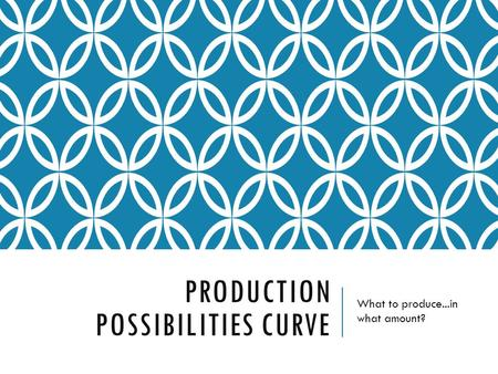 PRODUCTION POSSIBILITIES CURVE What to produce...in what amount?