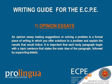 An opinion essay making suggestions or solving a problem is a formal piece of writing in which you offer solutions to a problem and explain the results.