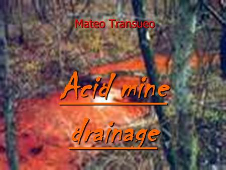 Acid mine drainage Mateo Transueo. What causes it……... ► Acid mine drainage (AMD) is the drainage produced from mines containing sulfide minerals which.
