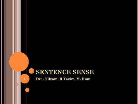 SENTENCE SENSE Dra. Nilzami R Yazim, M. Hum 1. 1.Parts of Speech 1 a Noun A noun is a word used to name a person, place, thing, or quality. Kennedy, Paris,