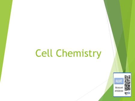 Cell Chemistry Life depends on Chemistry What does this mean?????