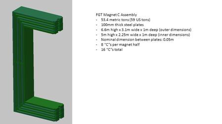 FGT Magnet C Assembly -53.4 metric tons (59 US tons) -100mm thick steel plates -6.6m high x 3.1m wide x 1m deep (outer dimensions) -5m high x 2.25m wide.