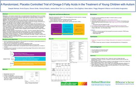 A Randomized, Placebo Controlled Trial of Omega-3 Fatty Acids in the Treatment of Young Children with Autism Deepali Mankad, Annie Dupuis, Sharon Smile,