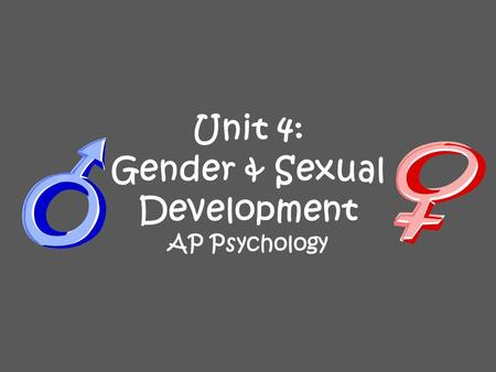 Unit 4: Gender & Sexual Development AP Psychology.