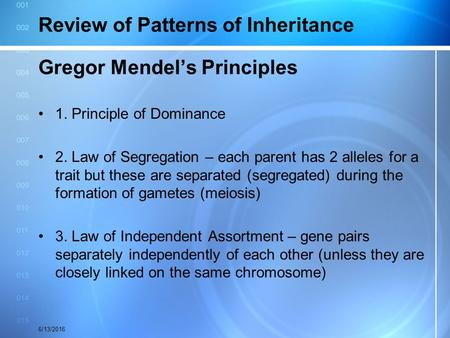 Review of Patterns of Inheritance Gregor Mendel's Principles 1. Principle of Dominance 2. Law of Segregation – each parent has 2 alleles for a trait but.