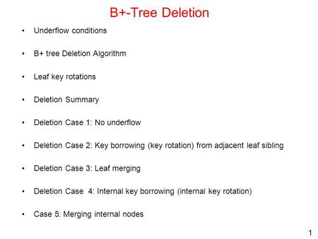 B+-Tree Deletion Underflow conditions B+ tree Deletion Algorithm
