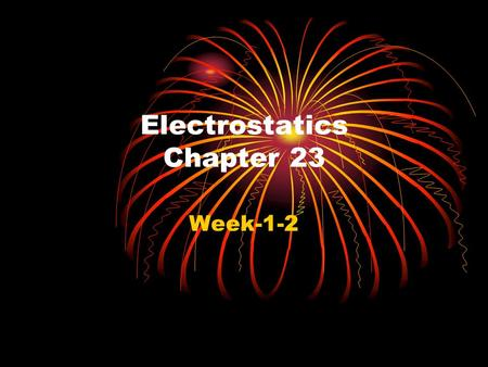 Electrostatics Chapter 23 Week-1-2 Electricity Probable First Observation Electricity.