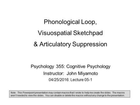 Phonological Loop, Visuospatial Sketchpad & Articulatory Suppression Psychology 355: Cognitive Psychology Instructor: John Miyamoto 04/25/2016: Lecture.