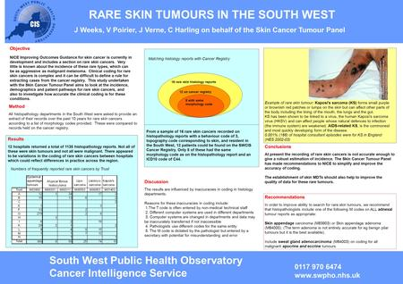RARE SKIN TUMOURS IN THE SOUTH WEST J Weeks, V Poirier, J Verne, C Harling on behalf of the Skin Cancer Tumour Panel Objective NICE Improving Outcomes.