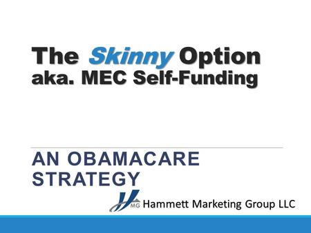 The Skinny Option aka. MEC Self-Funding AN OBAMACARE STRATEGY Hammett Marketing Group LLC.