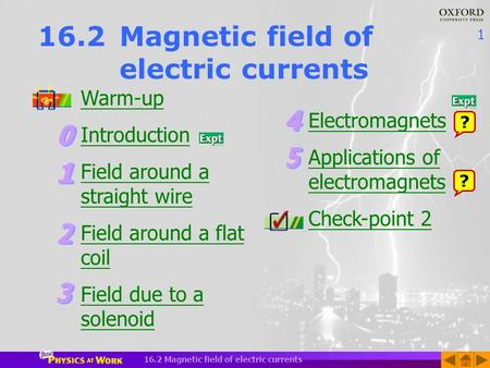 1 16.2 Magnetic field of electric currents Warm-up Introduction Field around a straight wire Field around a flat coil Field due to a solenoid Electromagnets.
