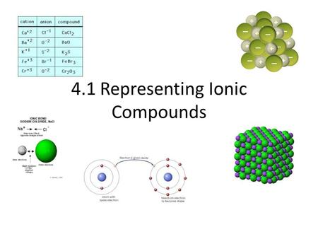 4.1 Representing Ionic Compounds. Agenda Hand in diagnostic test Lesson 4.1 Representing Ionic Compounds Read pages 139-151 Vocabulary Learning Check.