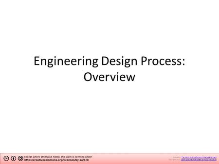 Engineering Design Process: Overview Created by The North Carolina School of Science and Math.The North Carolina School of Science and Math Copyright 2012.