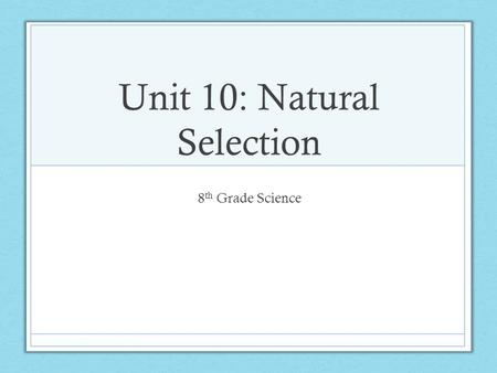 Unit 10: Natural Selection 8 th Grade Science. Bell Ringer: 04/07/2016 Essential Question: How can I analyze my unit 8 test for strengths and weaknesses?